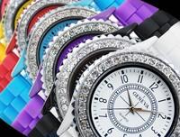 Hot-selling geneva diamond silica gel watches band diamond watch silica gel table