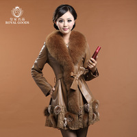 2013 Fox Fur Sheepskin Genuine Leather Clothing Coat Women's Medium-long Leather coat Female Luxurious Overcoat