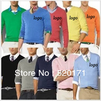 Good quality classic brand embroidery logo men's v-neck casual 100% cashmere sweater men's solid color sweater size S- XXXL