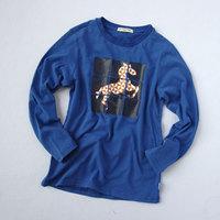 Male big children's clothing long-sleeve T-shirt horse magic cube cotton basic 100% vesseled preppy style 4242