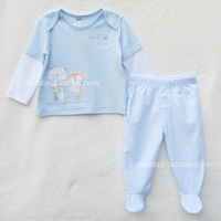 Infant spring and autumn cotton 100% envelope t-shirt pack pants set twinset set
