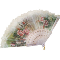 Free shipping Silk Lace Rose Fan Beach Weddings Favours The Spanish fan wholesale