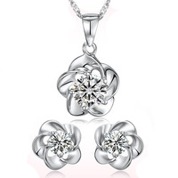 18K white gold plated hearts and arrows austrian crystal women necklace/earrings fashion jewelry set