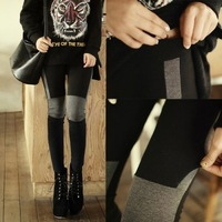 free shipping fashion B944 knee patchwork women's ankle length legging all-match skinny pants