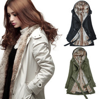Women's plus size slim wadded jacket fashion autumn and winter double pocket hooded cotton overcoat outerwear  Free shipping