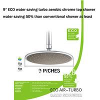 "Free shipping 9"" ECO water saving turbo aerobic chrome Single functions top shower water saving 50%"