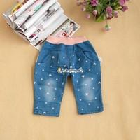 Princess children's clothing 2013 children's pants female child MINNIE denim yarn 5 pants roll up hem