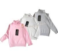 Fabulous princess 100% super-soft cotton yarn solid color turtleneck sweater flower sweater female children sweater