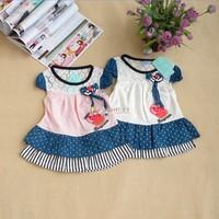 2013 children's clothing female child denim skirt short-sleeve dress infant doll dress clothes
