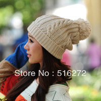 2013 winter and spring thick female cap lace bowknot lovely knitted cap 9color 1pcs Free Shipping