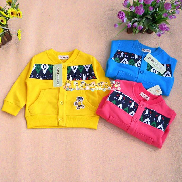 Curto na Primavera e no Outono de couro tamanho urso 100% algodão botões casaco cardigan casaco infantil(China (Mainland))