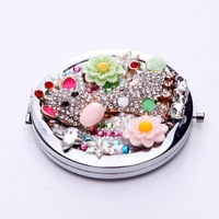 Crystal Mini Beauty pocket mirror portable double Dual sides stainless steel frame cosmetic makeup Normal + Magnifying WWXD1006