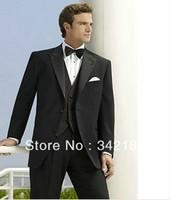 Free shipping/Best Selling Black Hot Sale Fashion Wedding Tuxedo Groom Wear Men Suit Business dress bridegroom groomsmen Suits
