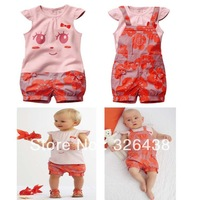 Free shipping(5pieces/lot)Children's Outfits & Sets Girl's Short sleeve T-shirt+overalls 2 piece suit Summer pink cute girl suit