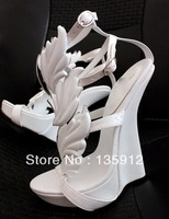 2013 Fashion Hot GZ Sandals White Leaf Women Pumps Flame Wings High Heel Shoe Sexy Genuine Leather White Wedding Wedges Shoes