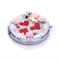 Crystal Mini Beauty pocket mirror portable double Dual sides stainless steel frame cosmetic makeup Normal + Magnifying WWXD1038