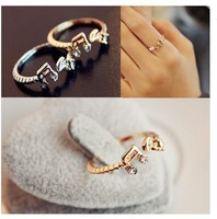 2Pcs Wholesale Fashion Lady Lovely Cute Sweet Music Notes Thread Crystal  Ring Free Shipping[WYL0060*2]