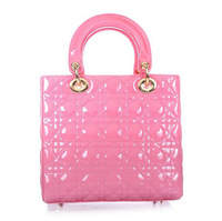 Top quality original brand LADY real patent calf leather hot pink gold women ambre tote fashion handbag free shipping wholesale
