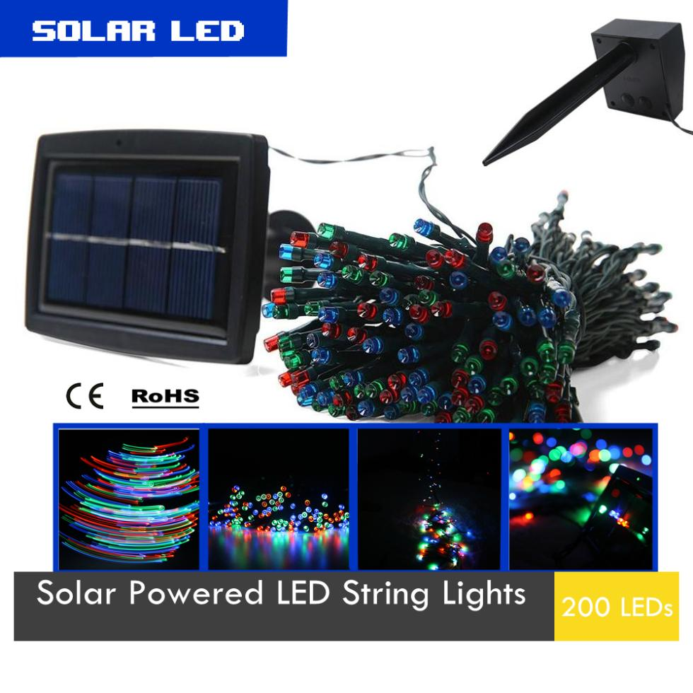 20.5m Solar LED String Lights with 2 modes for Holiday & Festival Decoration Indoor & Outdoor 200 LEDs With Stake+Smart Products(China (Mainland))