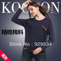 Free Shipping Round Collar Pure Color 2013 Autumn Long-Sleeve Medium-Long t-Shirt Plus Size Loose O-Neck Autumn Modal T-Shirt