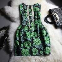 Fashion exquisite 2013 print sleeveless tank dress one-piece dress bud skirt t559