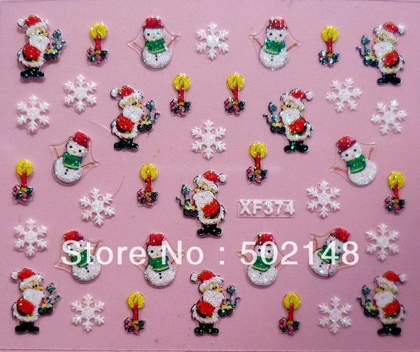 Christmas design nail art sticker, Nail patch sticker, 3d nail sticker(China (Mainland))