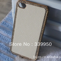 Protective case for iphone4/4S phone stickers embossed leather protective shell case free shipping
