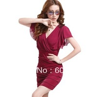 Summer Formal Elegant Women's 2013 Fashion Paillette Epaulette Sexy V-neck Short-sleeve Chiffon Short One-piece Dress