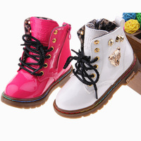 2013 winter bright japanned leather child martin boots male female child leather thermal snow boots single boots