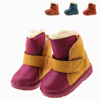 Child snow boots 2013 winter color block male child baby thermal cotton-padded shoes child warm boots female boots