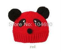 Free shipping new han edition double ball children wool panda knitting hat winter hat ..