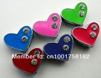 Brand New! 50pcs 8mm Two Rhinestone Heart Slide Charms DIY charms Fit to Pet Collars Wristbands Belts