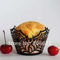 laser cut cobweb customized  cupcakes wrappers for Halloween's Day