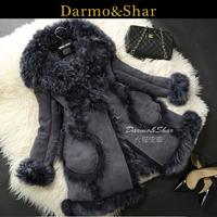 Free shipping Medium-long berber fleece fur one piece women's leather clothing fur coat overcoat 2013