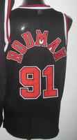 Cheap Sale, #91 Dennis Rodman black Men's  Basketball jerseys free shipping accept mix order