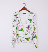 Free shipping new arrival 2014 cotton women fashion animal sweaters knitted ladies shirt cardigan with birds WS-015