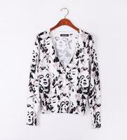 Free shipping lady face print pattern women's tops fashion 2014 women's wear Cardigan  WS-015