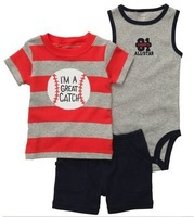 New baby boy's short sleeve suit 2014 summer Carters stripe T-shirts +romper 3 piece set children's clothing infant wear 10pcs