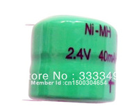 wholesale (100 pieces/lot) 40mAh 2.4V rechargeable NiMH button battery with pins (40H 2.4V) Free shipping