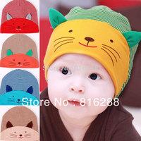 Wholesale(4pcs/lot)100% soft cotton cloth newborn baby cap animal kitty shaped hats baby boy autumn spring baby beanie