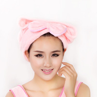 Dry hair hat super absorbent dry hair towel bow thickening ultrafine fiber shower cap