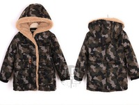 2014 new winter cotton coat children Down Parka ski suit clothing baby kid boy outwear Camouflage uniform pocket jacket hooded
