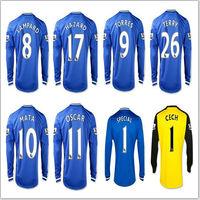 A+++ Chelsea Thailand Quality 2014 Long Sleeve Jersey Lampard 8# MATA 10# OSCAR 11# HAZARD 17# Terry 26# Goalkeeper Cech 1#