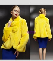 Faux outerwear long-sleeve women's fashion yellow short jacket three-dimensional corsage