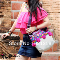 New arrival & free shipping! Embroidery one shoulder handbag messenger bag faux leather PU color block decoration bag