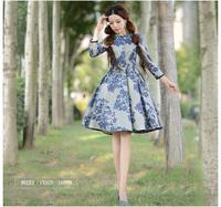 [LYNETTE'S CHINOISERIE - YHT] Autumn New Plus Size Women Clothing - Slim Elegant Vintage Print Women Dress Sz S M L XL XXL XXXL