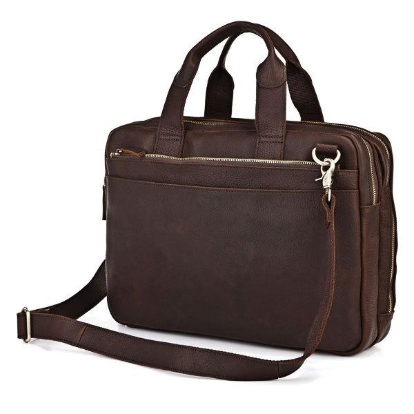 Crazy Horse Leather Men's Dark Brown Briefcase Handbag Laptop Bag