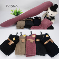 Spring and autumn thick soft dimond plaid knee-high socks vertical stripe needle roll-up hem over-the-knee socks 100% female
