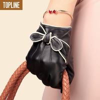 Genuine leather gloves autumn and winter bow women's small suede gloves thermal