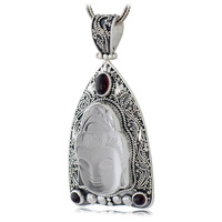 Collage 925 pure silver jewelry thai silver natural crystal guanyin buddha amulet necklace pendant